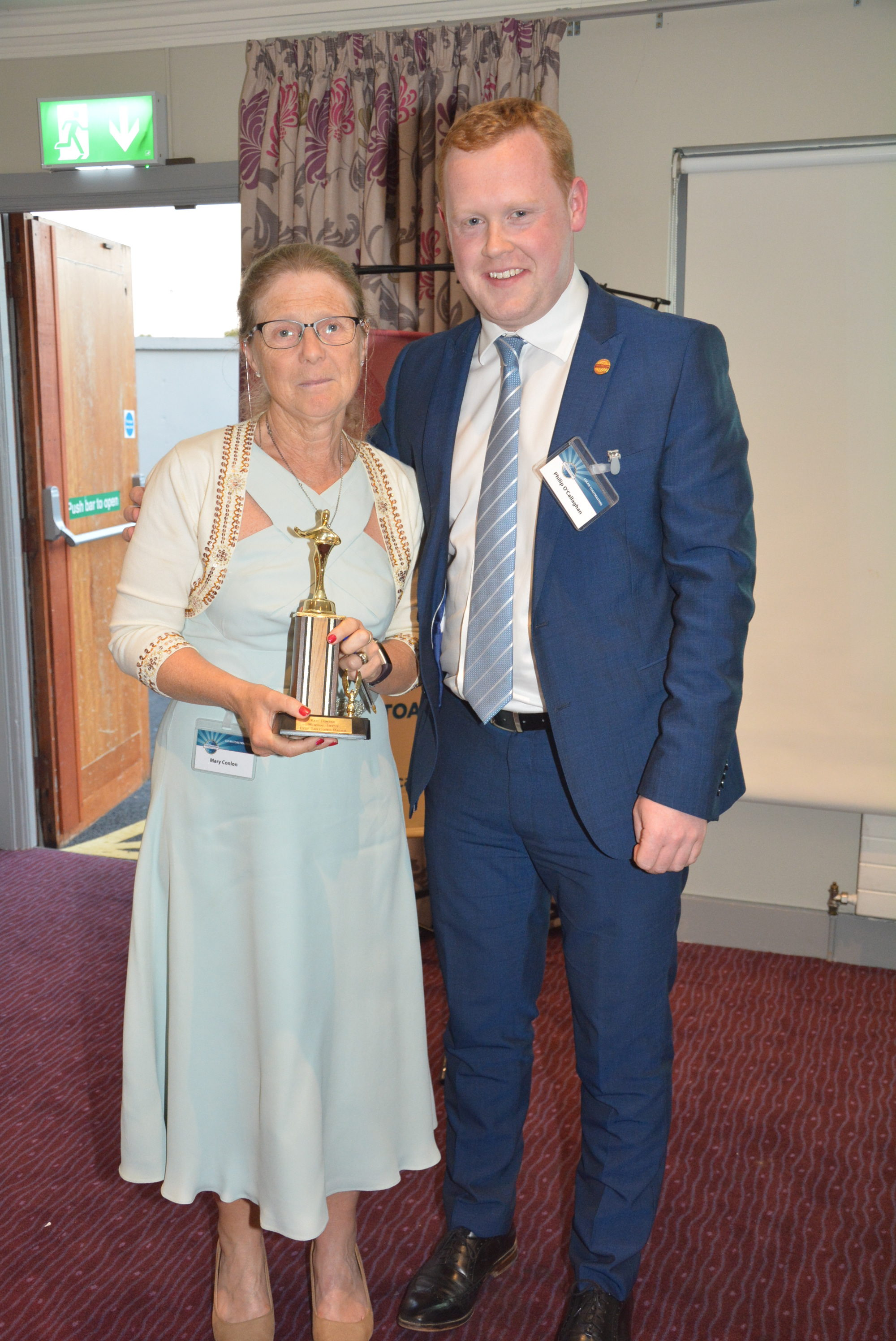 Kate Donoghue Memorial Award   Table Topics Master     Mary Conlon presented by Phillip