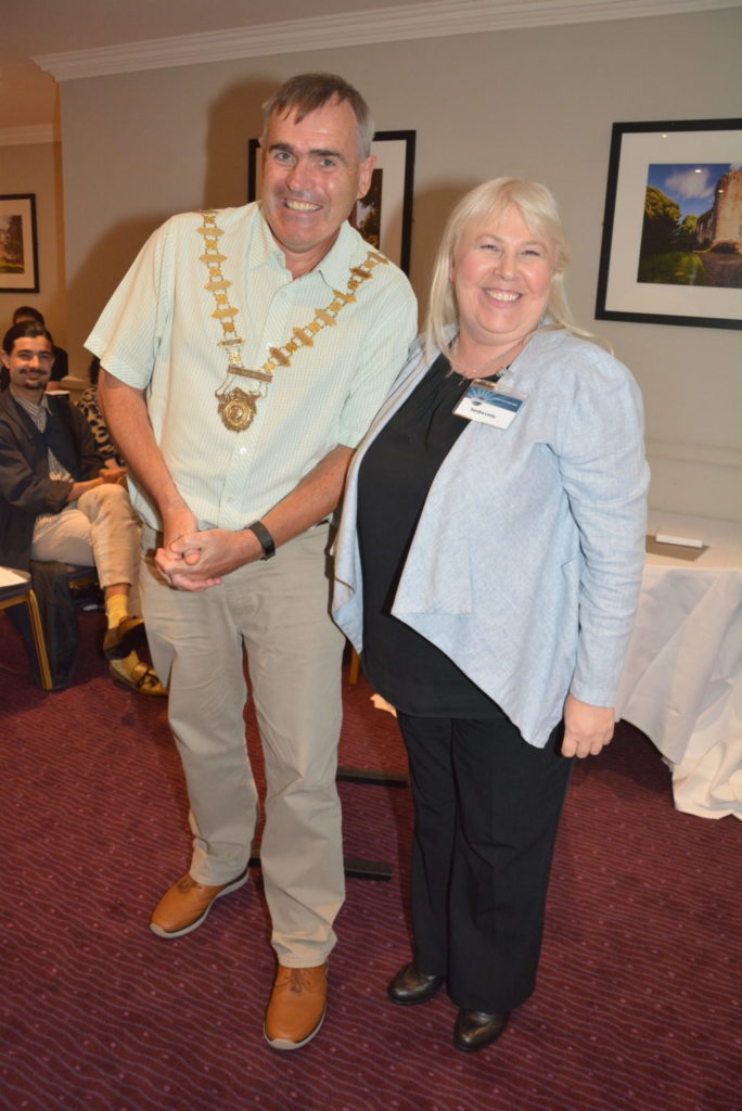 New President Declan with immediate Past President Sandra